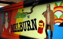 Street art in Australia, graffiti wall in Melbourne Royalty Free Stock Images