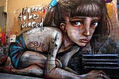 Street art in Australia, graffiti wall in Melbourne stock photos