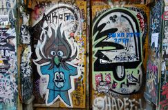 Street art in Barcelona. Two doors covered in graffiti photographed in Barcelona (Spain Stock Images