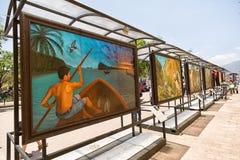 Street art billboards in San Cristobal de las Casas, Mexico. April 14, 2014 San Cristobal de las Casas, Mexico: informative explanatory street frescos depicting stock image