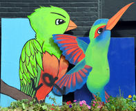 Street art birds. Royalty Free Stock Images