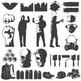 Street Art Black White Icons Set Stock Photography