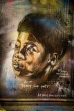 Street art - a boy. Photography of a street art in London streets, UK stock illustration