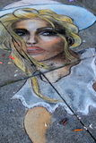 Street art chalk drawing of beautiful woman,Saratoga Springs,New York,2015 Royalty Free Stock Images