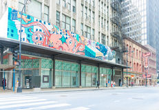 Street art in Chicago old buildings and historic Berghoff restau Stock Photo