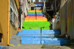 Colorful LGBTQ stairs in istanbul Turkey. Street art in Cihangir Istanbul in Turkey with bright colorful stairs representing the LGBTQ rainbow colors royalty free stock photos