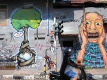 Street art. Creativity of Javanese students are on display all over the student capital of Yogyakarta stock photo