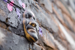 Street art - 3d head. Photography of a street art in London streets, UK stock illustration