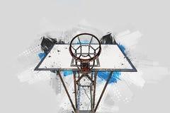 Basketball hoop - Street art digital painting - Creative illustration - Grunge version. A street art digital illustration of a basketball hoop Royalty Free Stock Images