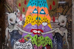 Street art at El Born district, on March 21, 2013 in Barcelona, Spain Stock Image