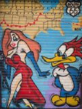 Street art at El Born district, on March 11, 2013 in Barcelona, Spain Royalty Free Stock Images