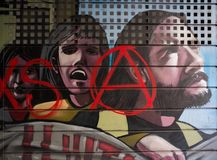 Street art at El Born district, on March 14, 2013 in Barcelona, Spain Stock Photography