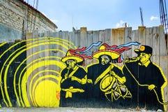 Street art on fence in San Cristobal de las Casas, Mexico. San Cristobal de las Casas, Mexico - March 26, 2015: Street art on wooden fence stock images