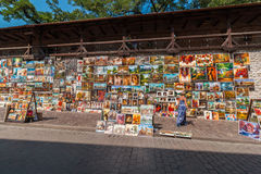 Street art gallery -oil paintings - Krakow (Cracow)-POLAND royalty free stock photos