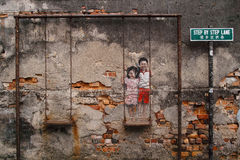Street Art in Georgetown. Penang, Malaysia Royalty Free Stock Images