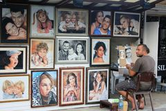 Street art in Golden Sands - portraits Stock Photos