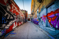 Street art in Graffiti Alley, in the Fashion District of Toronto Royalty Free Stock Image
