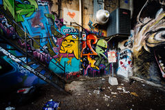 Street art in Graffiti Alley, in the Fashion District of Toronto. Ontario royalty free stock image