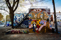 Street art in Graffiti Alley, in the Fashion District of Toronto Stock Images