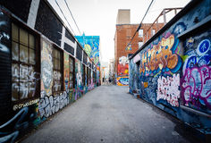 Street art in Graffiti Alley, in the Fashion District of Toronto. Ontario royalty free stock photos