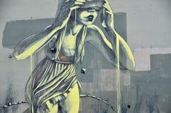 Street Art or Graffiti of Blindfolded Girl Royalty Free Stock Photos