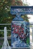 Street art graffiti. On a bridge pillar stock photos