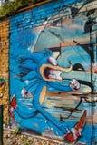 Street art - graffiti. Graffiti - Street art in the old town of Bayreuth Germany, franconia stock photos