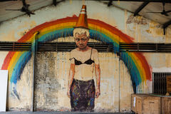Street art and graffiti paintings on the walls of architecture Stock Images