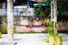 Street art and graffiti paintings on the walls of architecture Stock Photography