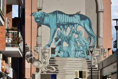 Street Art and Graffiti in Rome Pigneto district. Italy - Netflix Suburra royalty free stock images