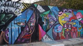 Street Art Graffiti Style. Art under ground. Beautiful street art graffiti style. The wall is decorated with abstract drawings house paint royalty free stock images