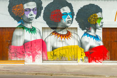 Street art graffiti on a wall in the street of Cartagena, Colombia, South America royalty free stock image