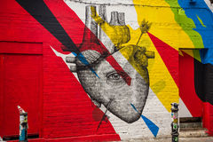 Street art - heart. Photography of a street art in London streets, UK stock illustration