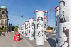 Street art with historic famous German people downtown at Berlin, Germany. BERLIN, GERMANY - JULY 22:  Street art with historic famous German people near the Stock Images
