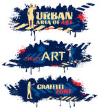 Street Art Horizontal Banners. With silhouettes of painters crosswalks spots on dark blue background isolated vector illustration vector illustration