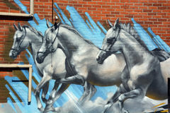 Street art horses Royalty Free Stock Photography