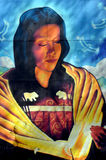 Street art indian woman. MONTREAL,CANADA AUGUST 08 2015: Street art indian woman. Montreal is the perfect place to walk in the back alleys and abandoned areas Stock Photography