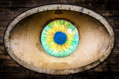 Street art installation showing the all-seeing eye in Malmo. In Sweden royalty free stock photo