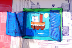Street art in La Boca neighborhoods Stock Photography