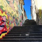 Street Art in La Croix Rousse in Lyon, France stock photography
