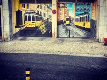 Tram drawing on the wall. Street art in Lisbon, old tram drawing on the wall royalty free stock photos