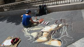 Street art. Live drawings street art work Stock Photo