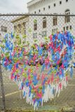 Street art of lock, paper form a heart shape Royalty Free Stock Photo