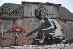 Street art in Lofoten. A graffiti piece on a abandoned fishing lodge in Lofoten, Norway Royalty Free Stock Photos