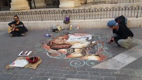Street art magic. Music guitar piece of art Stock Photo