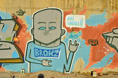 Street Art Of A Man With Two Fingers Up Royalty Free Stock Photos