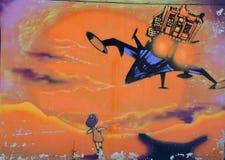 Street art Montreal alien Stock Photos