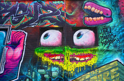 Street art Montreal alien. MONTREAL CANADA DEC 02: Street art Montreal alien on dec 02 2014 in Montreal Canada. Montreal. is the perfect place to walk in the Stock Image