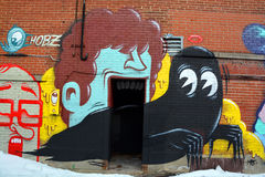 Street art Montreal alien royalty free stock images