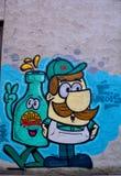 Street art Montreal beer drinker Stock Images